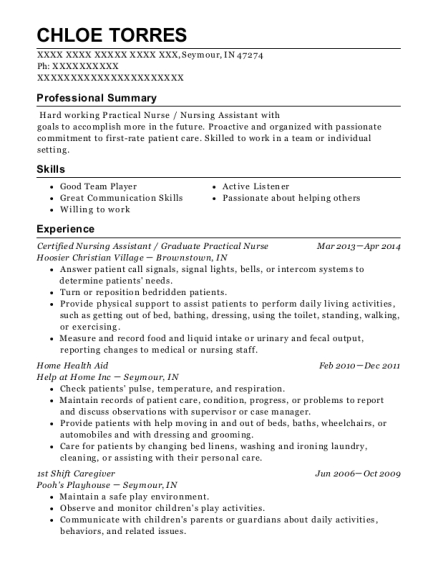 Certified Nursing Assistant resume format Indiana