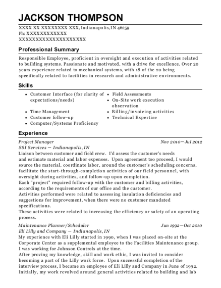Project Manager resume sample Indiana