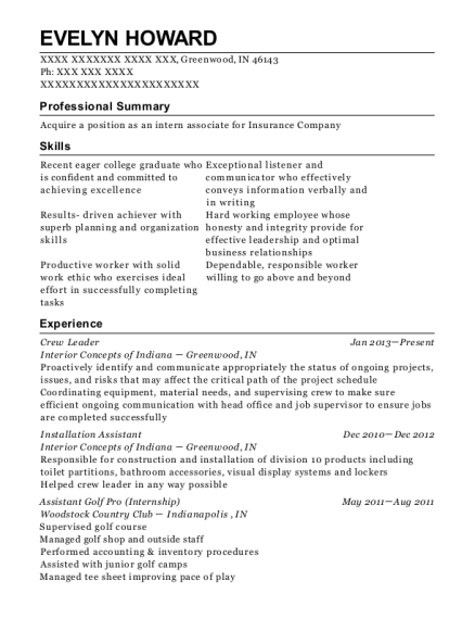 Crew Leader resume template Indiana