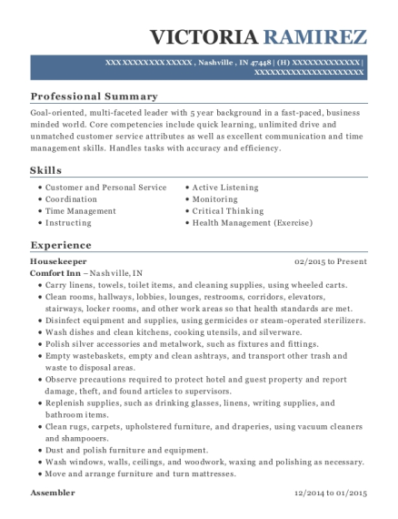 Housekeeper resume template Indiana