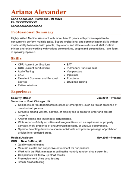 Security Officer resume format Indiana