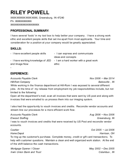 Accounts Payable Clerk resume sample Indiana