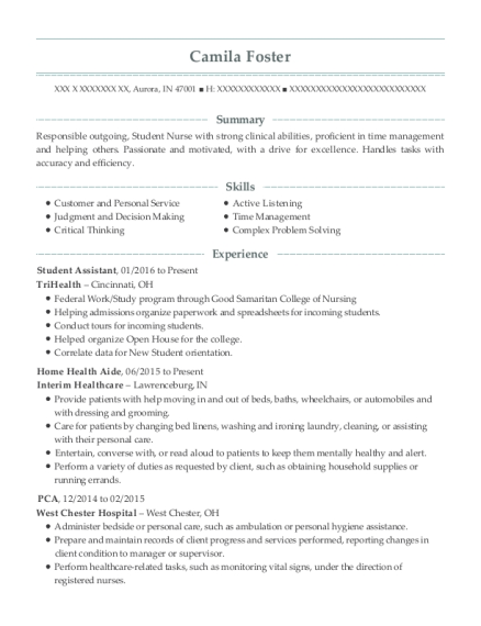 Student Assistant resume template Indiana