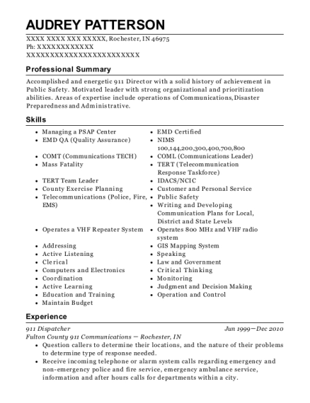 911 Dispatcher resume sample Indiana