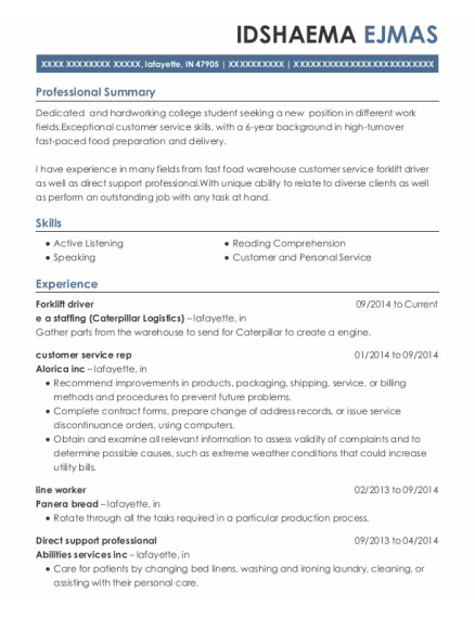 Forklift driver resume template Indiana