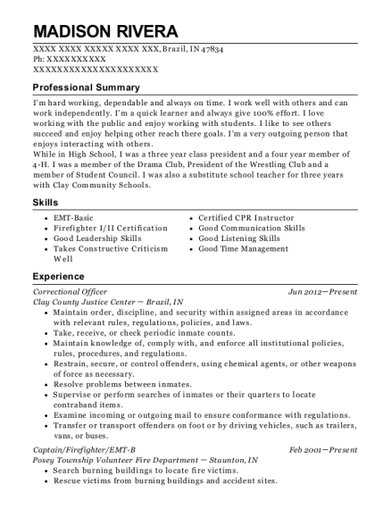 Correctional Officer resume sample Indiana