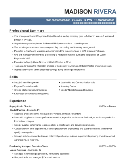 Supply Chain Director resume sample Indiana