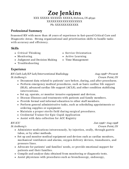 RN Cath Lab resume example Indiana