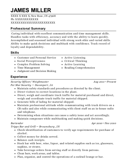 Security Officer resume sample Indiana