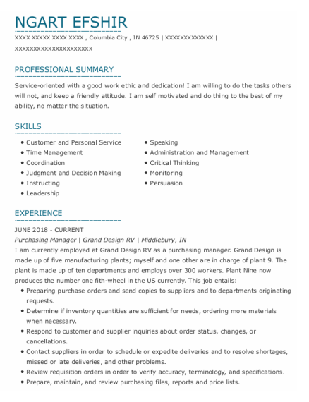 Purchasing Manager resume format Indiana