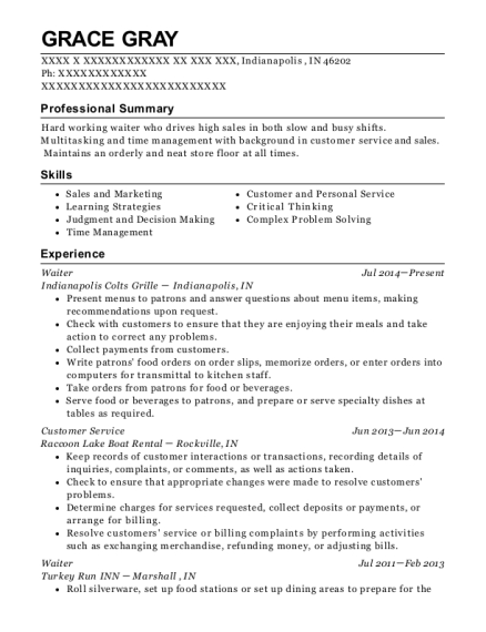 Waiter resume example Indiana