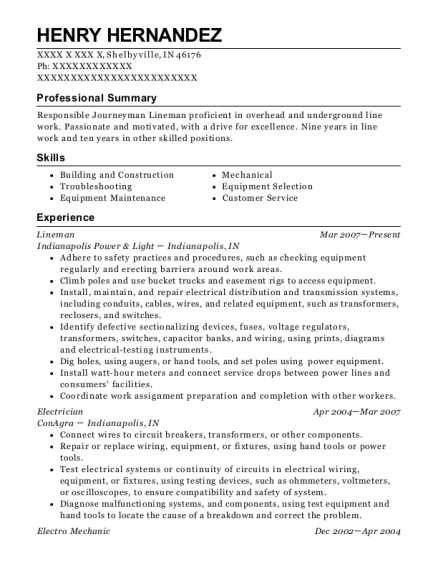 Lineman resume example Indiana