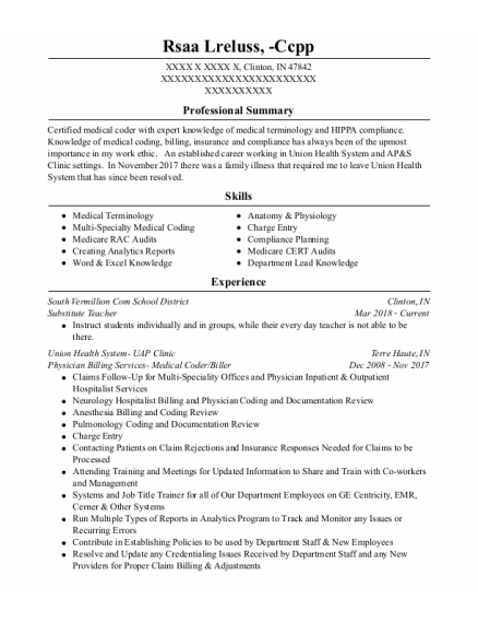 Substitute Teacher resume sample Indiana