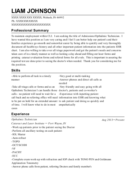 Opthalmic Technician resume sample Indiana