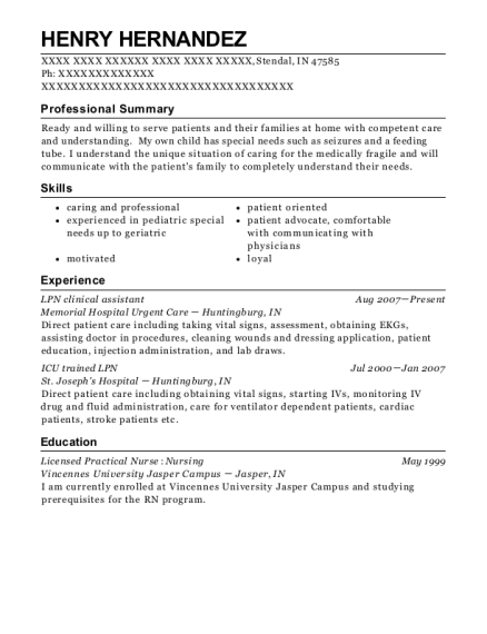 LPN clinical assistant resume sample Indiana