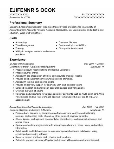 Accounting Specialist resume template Indiana