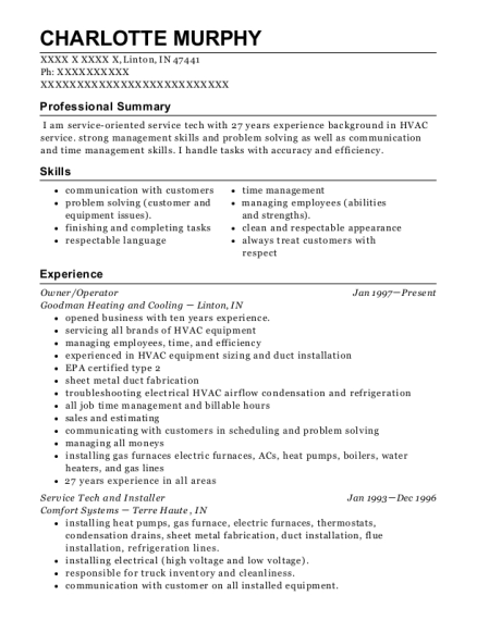 Owner resume template Indiana