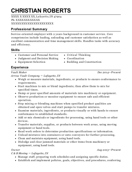 Vault Maker resume example Indiana