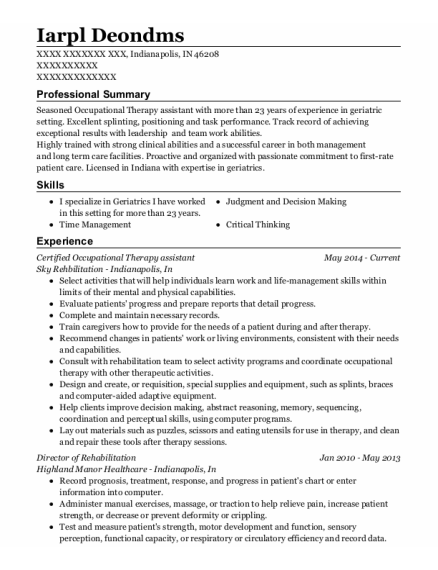 Certified Occupational Therapy Assistant resume example Indiana
