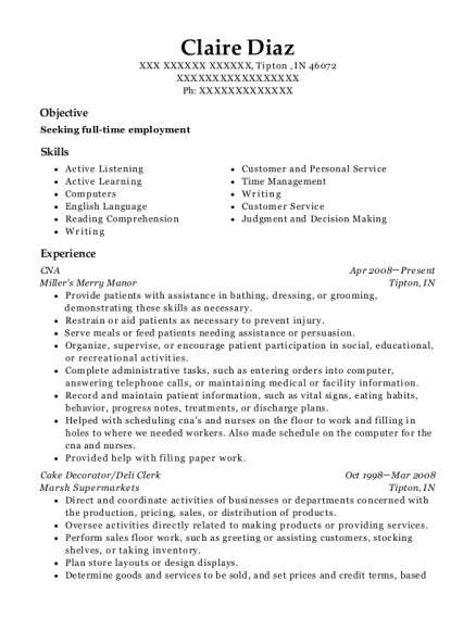 CNA resume template Indiana