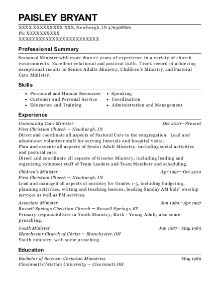Community Care Minister resume example Indiana