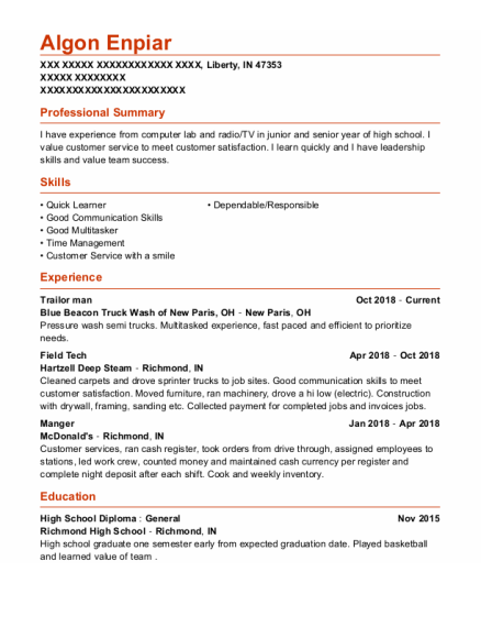 Field Tech resume example Indiana