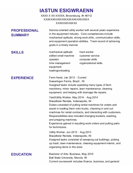 Farm Hand resume sample Indiana