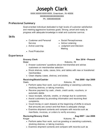 Grocery Clerk resume template Indiana