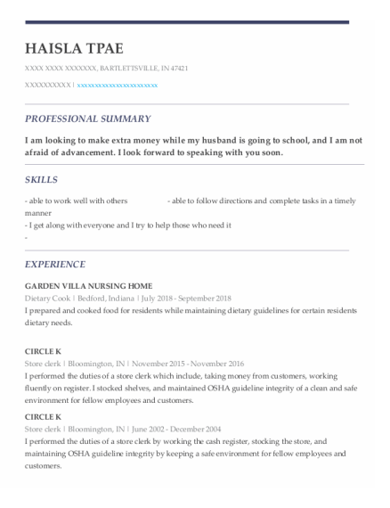 Dietary Cook resume template Indiana
