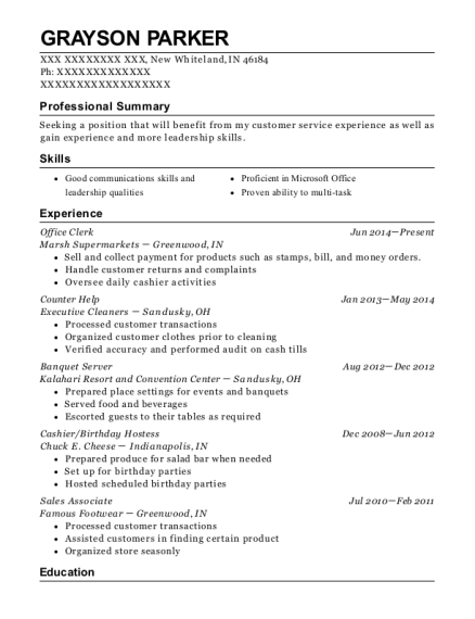 Office Clerk resume example Indiana