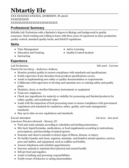 Lab Technician resume template Indiana