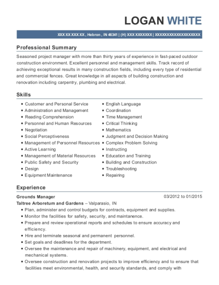 Grounds Manager resume format Indiana