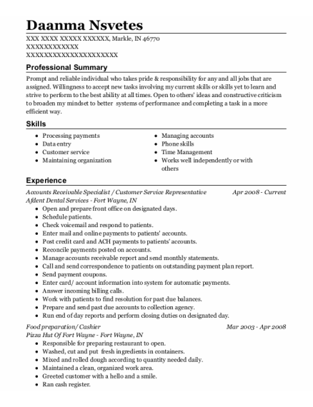 Accounts Receivable Specialist resume format Indiana