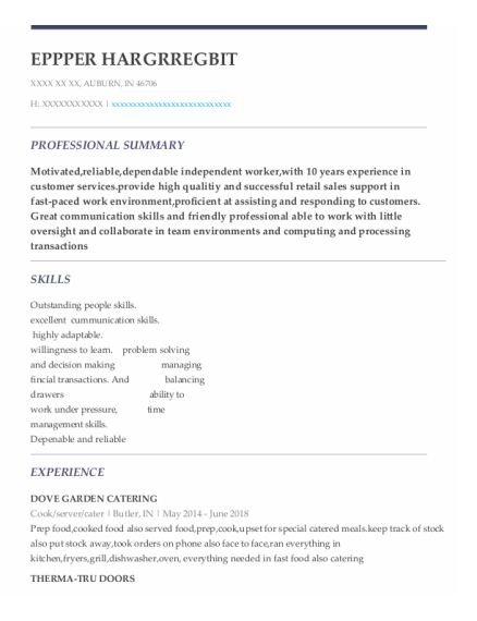 Cook resume template Indiana