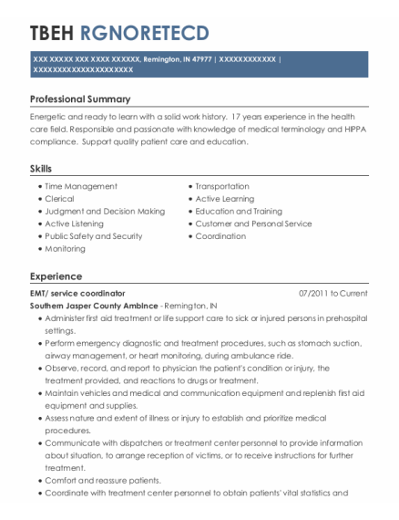 EMT resume example Indiana