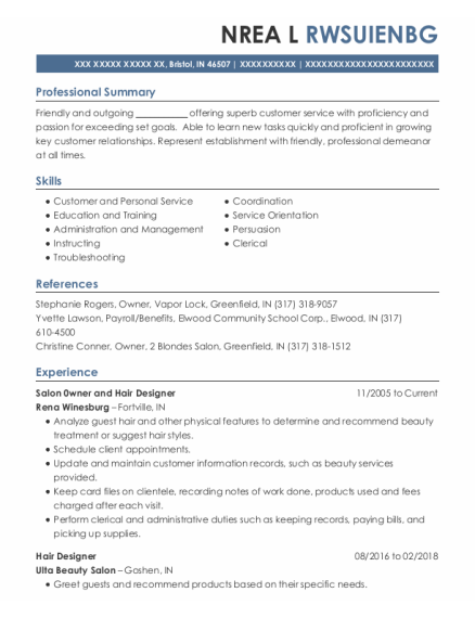 Hair Designer resume example Indiana