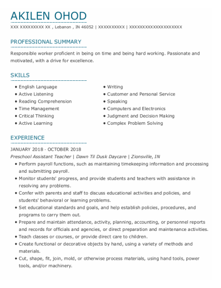 Preschool Assistant Teacher resume format Indiana