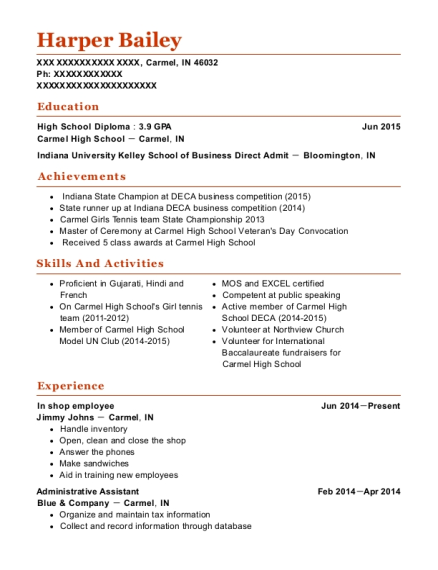 In shop employee resume format Indiana
