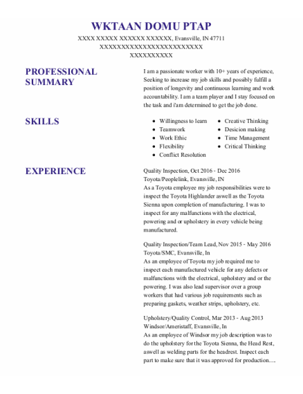 Quality Inspection resume format Indiana