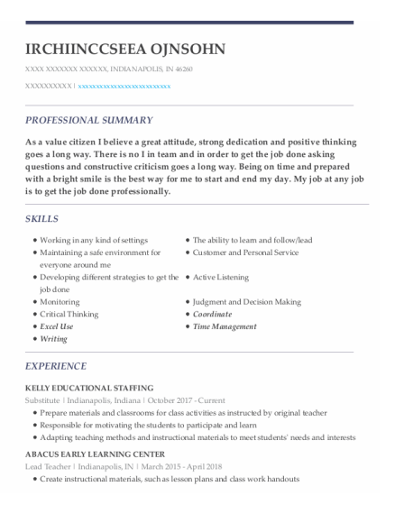 Substitute resume template Indiana