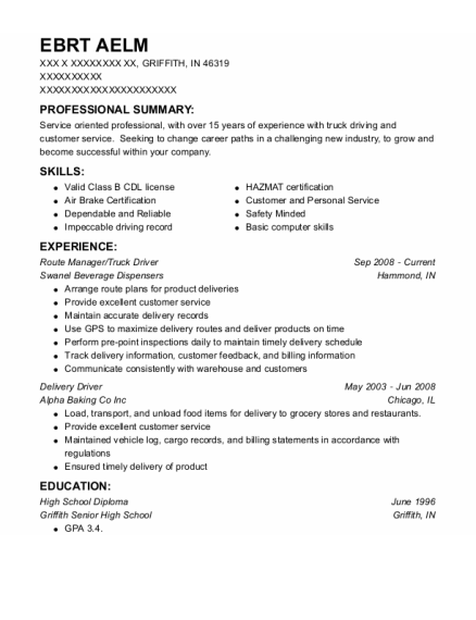 Route Manager resume example Indiana