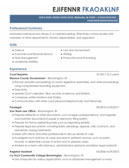 Court Reporter resume format Indiana