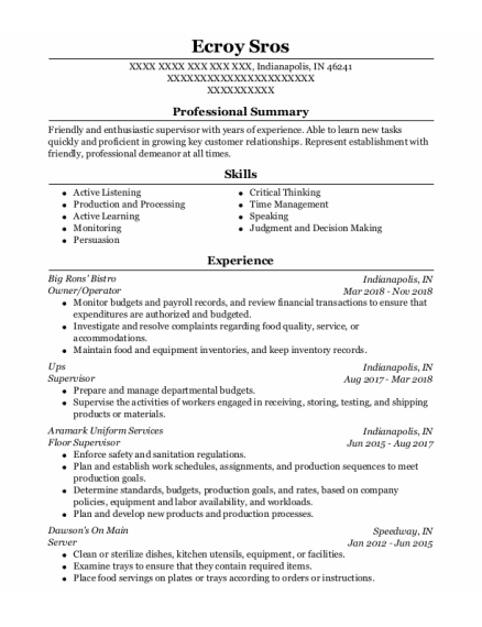 Owner resume format Indiana
