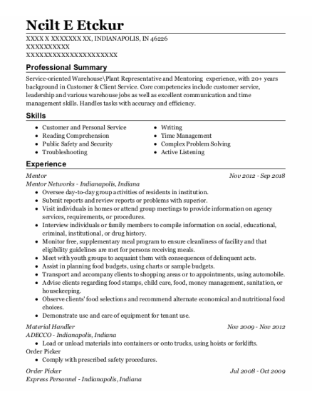 Mentor resume example Indiana