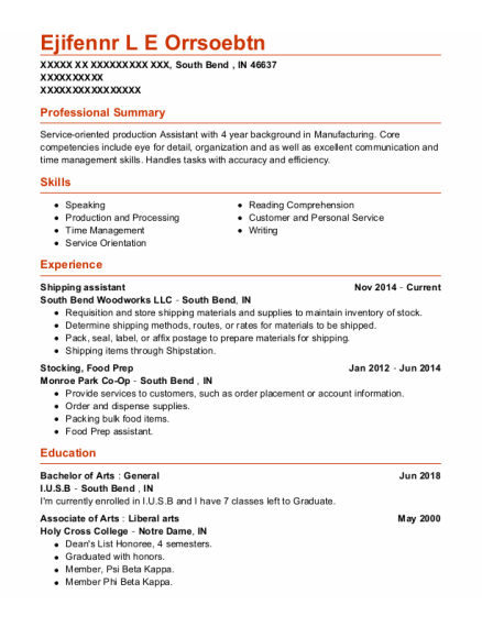 Shipping Assistant resume format Indiana
