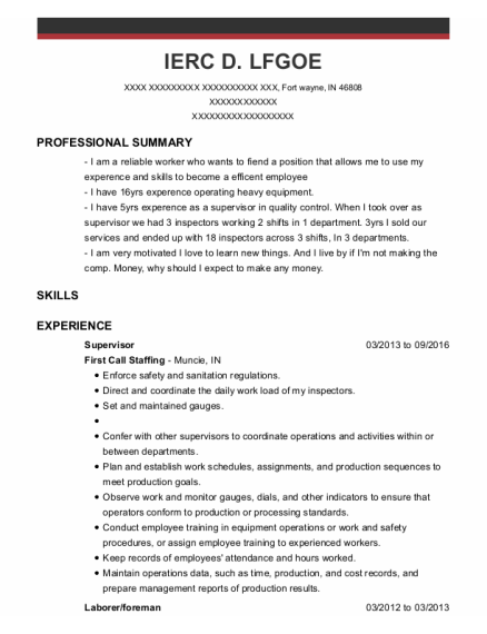 Supervisor resume format Indiana