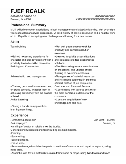 Assistant Manager resume format Indiana