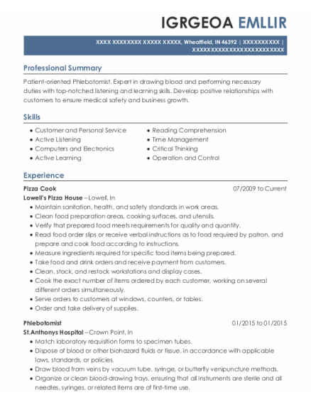 Pizza Cook resume template Indiana