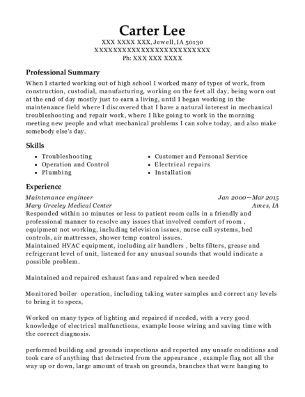 Maintenance Engineer resume template Iowa