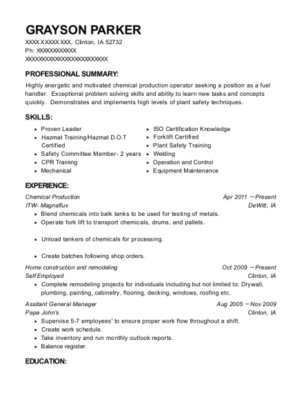Chemical Production resume template Iowa